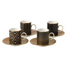 Arris 4 Piece Accent Espresso Cup and Saucer Set