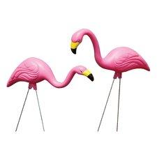 2 Piece Pink Flamingo Garden Stake Set