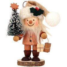 Santa with Christmas Tree in Natural Wood Finish Ornament