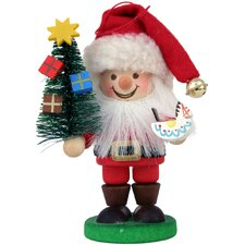 Santa with Tree in Painted Finish Ornament
