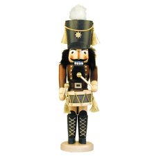 Natural Wood Finish Green Drummer Nutcracker