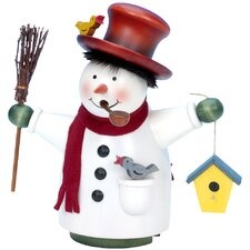 Snowman with Broom and Birdhouse Incense Burner