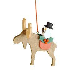 Elk with Snowman Ornament