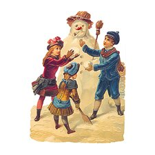Die Cut and Embossed Standing Card with Snowman Design (Set of 3)