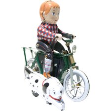 Collectible Decorative Tin Toy Boy on Bike with Dog Motor Cycle