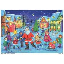 Sellmer Small Santa with Skaters Advent Calendar