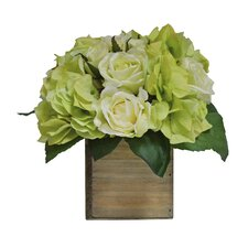 Hydrangea Mix in Natural Wooden Box