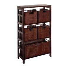 Espresso 5 Drawers Storage Shelf
