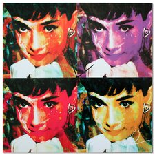 'Audrey Hepburn' Colorful Urban Pop Art Wall Clock