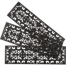 Black Fleur Di Lys Stair Tread (Set of 3)