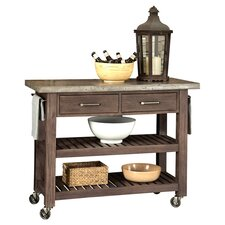 Concrete Chic Kitchen Cart with Concrete Top