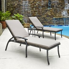 Laguna 3 Piece Chaise Lounge and Table Set with Cushions