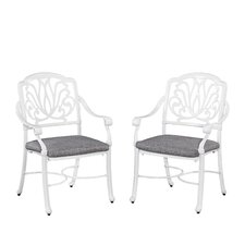 Floral Blossom Dining Arm Chair with Cushion (Set of 2)