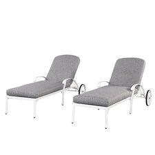 Floral Blossom Chaise Lounge Chairs with Cushion (Set of 2)