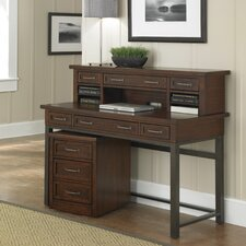 Cabin Creek Computer Desk with 1 Right & 1 Left Drawer and Hutch