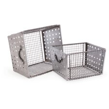 2 Piece Industrial Wire Bins Set