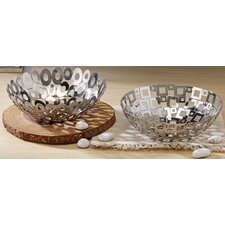 2 Piece Steel Welded Square and Oval Basket Set