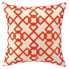 Chain Link Embroidered Decorative Linen Throw Pillow