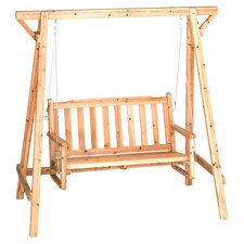 Rustic Bench Swing with Stand