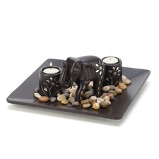 4 Piece Elephant Candleholder Set