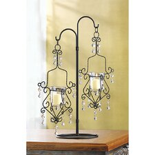 Crystal Drop Wrought Iron Candelabra