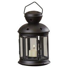 Iron and Glass Lantern with Black Finish