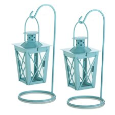 Iron and Glass Lantern (Set of 2)