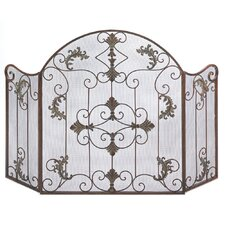 Embellished Wrought Iron Fireplace Screen