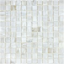 "Baroque 1"" x 1"" Glass Gloss Mosaic in Calacatta"