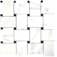Carara Extra Big Basketweve Marble Random Sized Polished Mesh-Mounted Mosaic in White