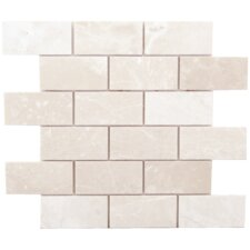 "Alara Crema 4"" x 2"" Marble Brushed Mosaic in Light Beige"