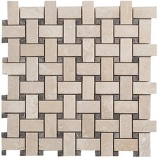 Light Ivory Basketweave Random Sized  Travertine Filled and Honed Mosaic