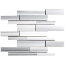 Equator Random Sized Strip Marble Polished Mosaic in White and Gray