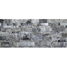 Sivler Split Face Travertine Random Sized Wall Cladding Mosaic in Silver and Gray