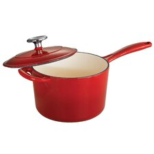 Gourmet Enameled Cast Iron 2.5 Qt. Saucepan with Lid