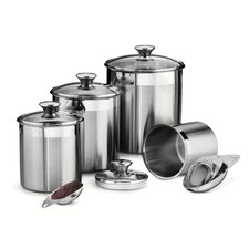 Gourmet 8-Piece Stainless Steel Canister and Scoop Set