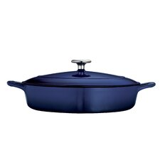 Gourmet Enameled Cast Iron 4 Qt. Cast Iron Round Braiser with Lid