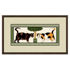 Cats by the Tree Framed Graphic Art