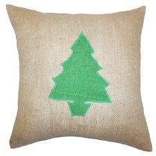 Holiday Christmas Tree Burlap Throw Pillow