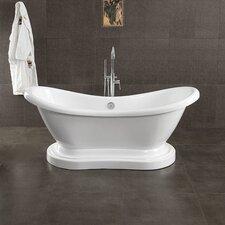 "Acrylic Double Ended 68"" X 28"" Pedestal Slipper Bathtub"