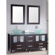 "Emerald 64"" Double Bathroom Vanity Set with Mirror"