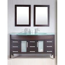 "Modern 63"" Double Bathroom Vanity Set with Mirror"