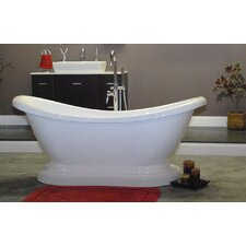 "68.63"" x 29"" Pedestal Slipper  Bathtub"