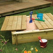 Quadratischer Sandkasten 1,2 m B x 0,3 m T mit Holzdeckel