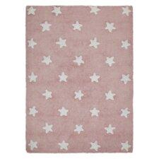 Handgetufteter Teppich Star in Rosa