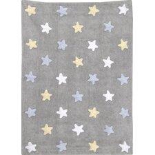 Handgetufteter Teppich Tricolor Star in Grau