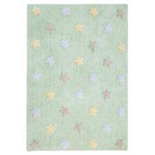 Handgefertigter Teppich Tricolor Star in in Pastellgrün