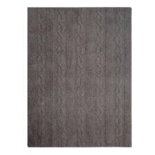 Handgefertigter Teppich Trenzas in Dunkelgrau