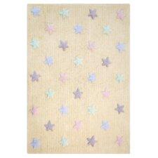Handgefertigter Teppich Tricolor Star in Vanille
