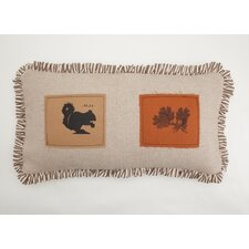 Squirrel and Oak Leaf Patch Down Lumbar Pillow